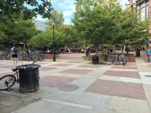 A view of VCU's Compass at the end of the day.