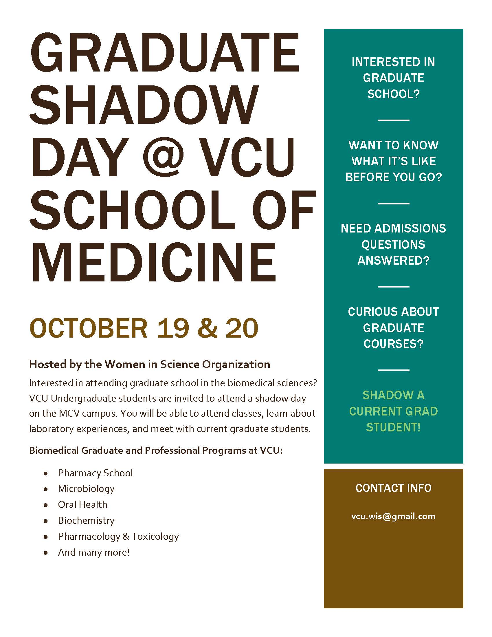 Graduate Shadow Day Flyer