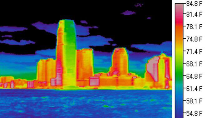 A heat map of the Richmond cityscape shows a stark difference in temperature between buildings and surroundings.