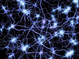 Nerve cells firing, artwork