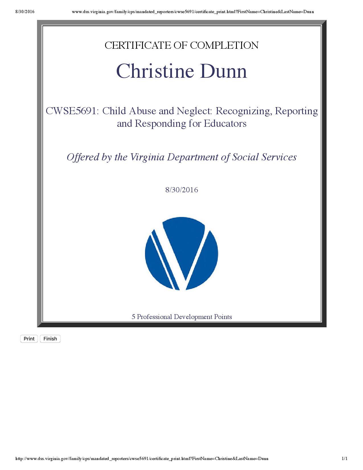 Child Abuse Certificate Christine A Dunn Future Educator