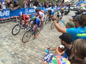 Fans Cheer on Cyclists during the last day of the Worlds at VCU