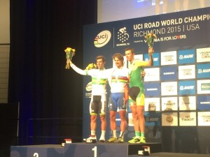 First Place Winner, Peter Sagan Poses With Second Place, Michael Matthews and Third Place, Ramunas Navardauskas