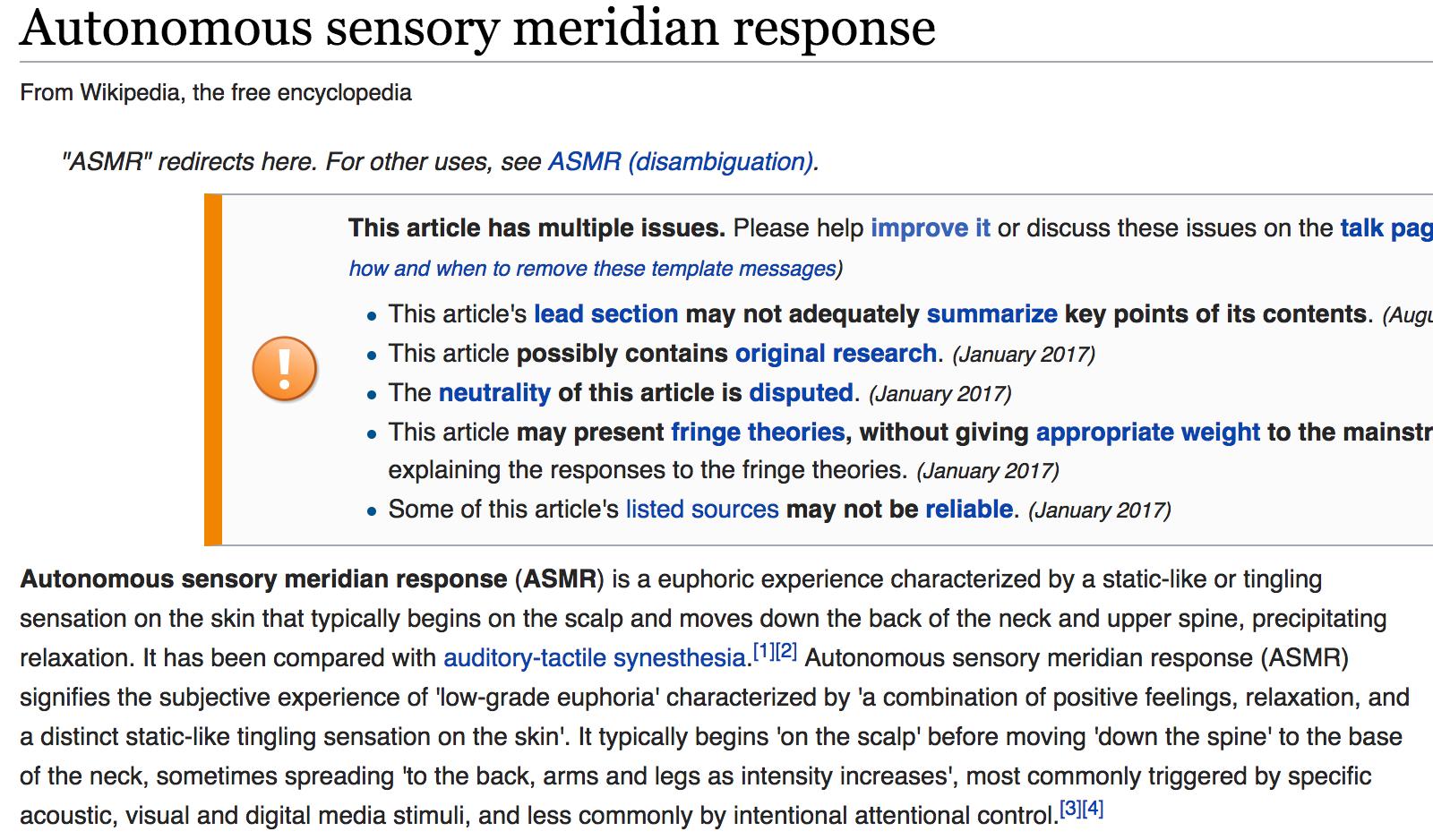 an explanation of the tingling sensation or autonomous sensory meridian response asmr