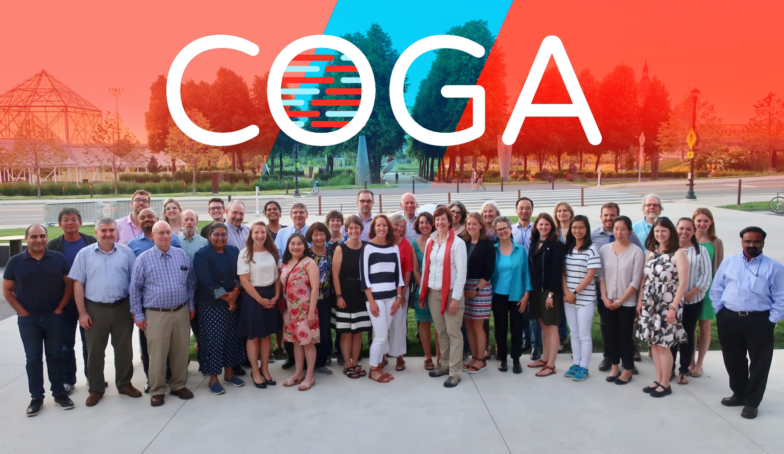 A portrait of the COGA participants with the COGA logo.