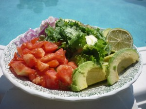 a plate of cilantro, tomato, avocado, and lime