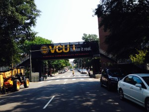 The VCU logo on the bridge is something the city hopes all visitors notice.