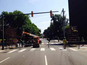 West Main Street is closed to traffic for two days so a pedestrian bridge can be assembled.