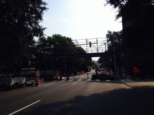 Day two of pedestrian bridge construction shows is underway.