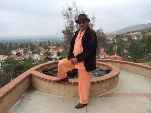 Robert Tillery and his backyard overlooking the San Fernando valley of California, as he heads out to a birthday party at the cigar lounge, I mean park.