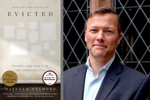 Cover of Evicted and photograph of the author Matthew Desmond