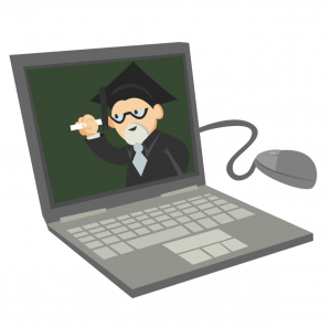 laptop computer with a professor in cap and gown on the screen symbolizing an online instructor