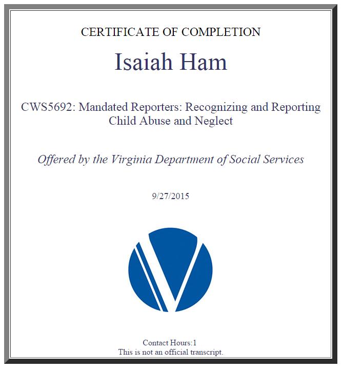 Mandated Reporter Certificate Isaiah Ham