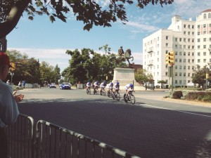 Streamlined riders race past the J.E.B. Stuart Monument in the Men's Team Time Trials.