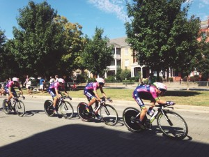 Team Lampre on Sunday of the Men's Team Time Trial.