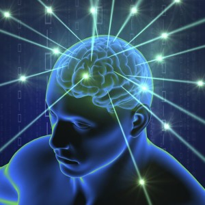 Brain in head with hi-tech cyber theme