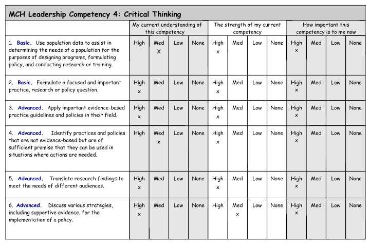 MCH Leadership Skills Self-Assessment – Hannah Vaughn