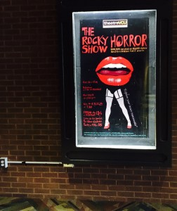 Inside the Singleton Performing Arts Center Lobby, The Rocky Horror Show's poster is up outside of the Hodges Theatre promoting it's performance dates. The show opens Halloween weekend and runs until mid November.