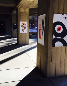In the patio underneath the Pollock building, students have put their artwork on display for the public to view.