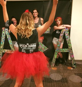 Some of the sisters of Alpha Sigma Alpha, Epsilon Gamma Chapter, having fun before Bid Day to welcome their new Fall 2015 pledge class.