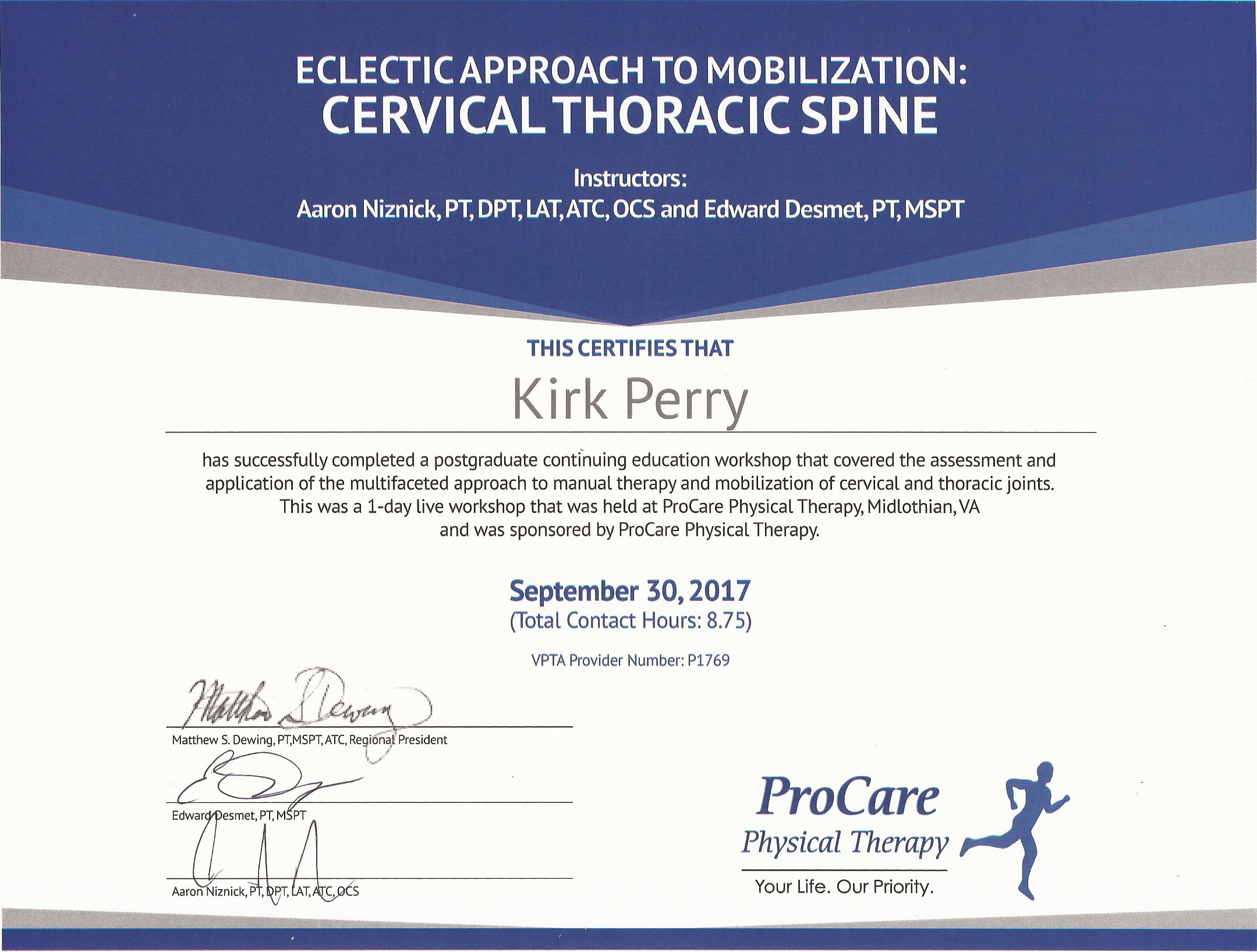 Continuing Education Log Certificates Kirk Perry Spt