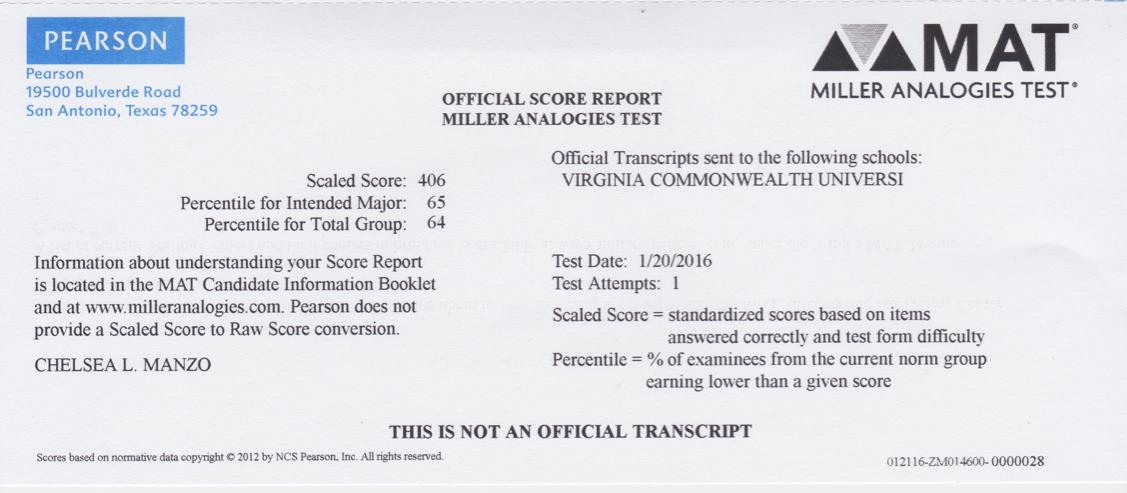 MAT Certification – Chelsea Lauren Manzo