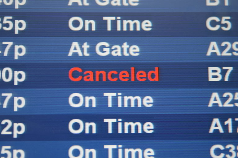 Cancelled Flight on Display Board