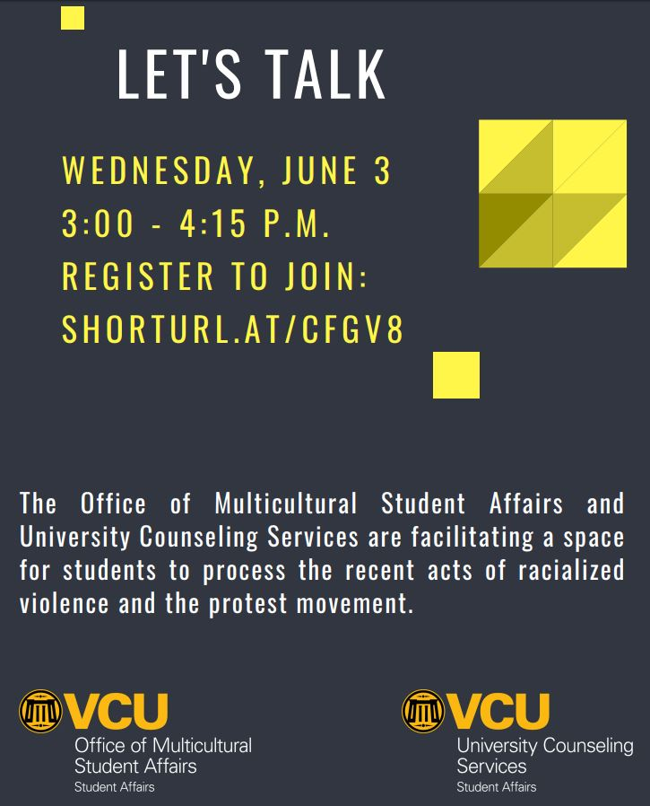 The Office of Multicultural Student Affairs and University Counseling Services are facilitating a space for students to process the recent acts of racialized violence and the protest movement.
