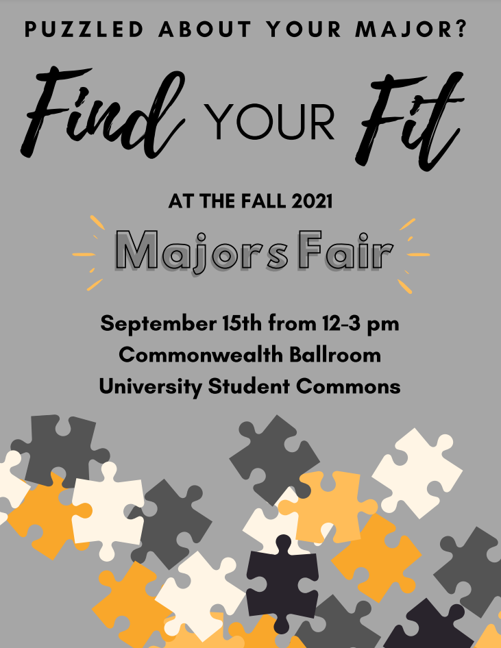 Majors Fair will be held on September 15th from 12pm-3pm in the Commonwealth Ballroom, which is located on the second floor of the University Student Commons.