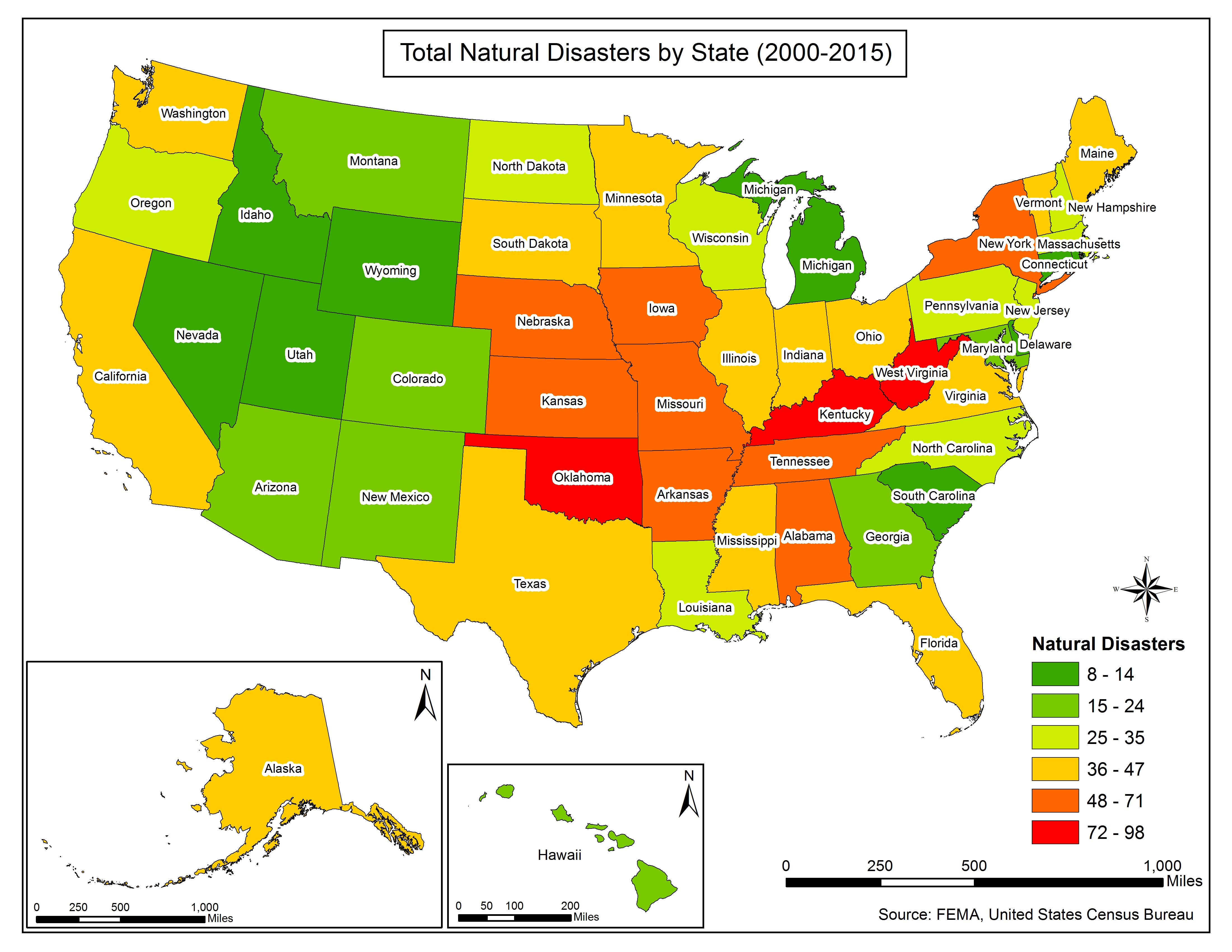 map 1 total natural disasters by state 2000 2015 typeright