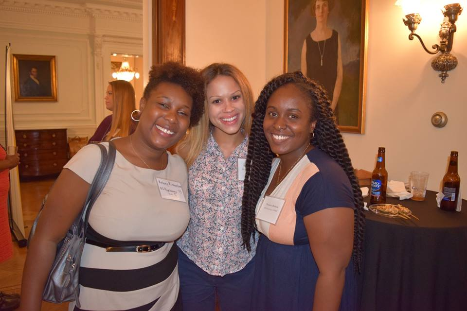 Trenice Morton ('12), Rachel Mason ('13), and Kelsey Richardson ('13) enjoyed catching up with each other and Psych faculty at the alumni reception that followed the talk.