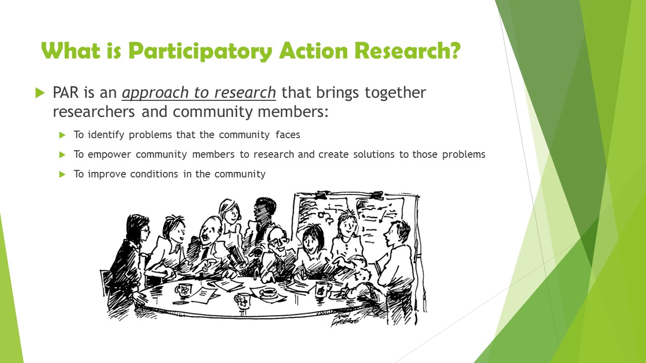 participatory action research Methods participatory action research participatory action research uses a spiral process, which alternates between action and critical reflection, continuously refining methods, data and.