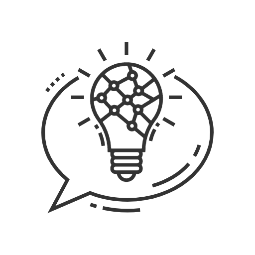 A lightbulb filled with connected nodes that indicates collaborative ideas.