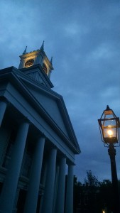 The Old Whaling Church in Edgartown, MA looks ominous in the evening.