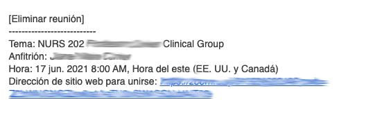 Canvas notification written in Spanish.
