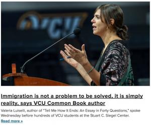 Thumbnail photo of article about Valeria Luiselli's talk.