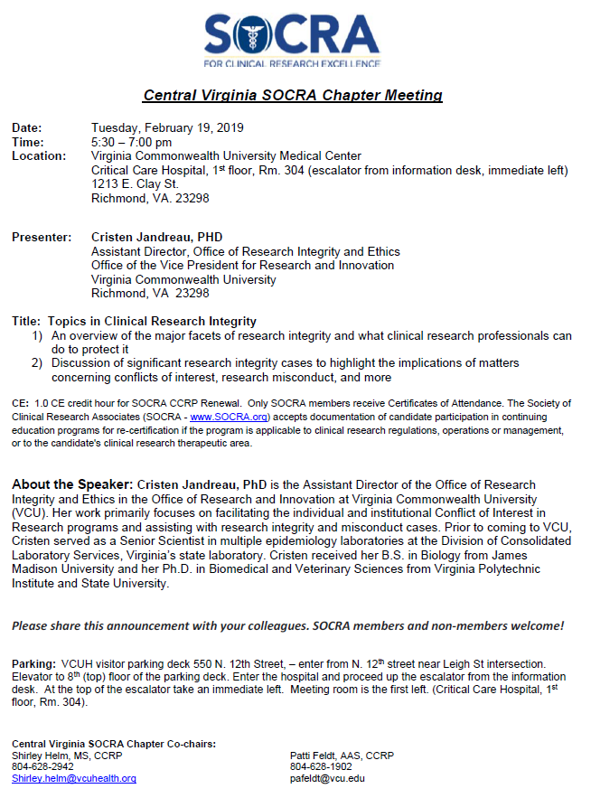 """Central Virginia SOCRA Chapter Meeting: """"Topics in Clinical Research"""