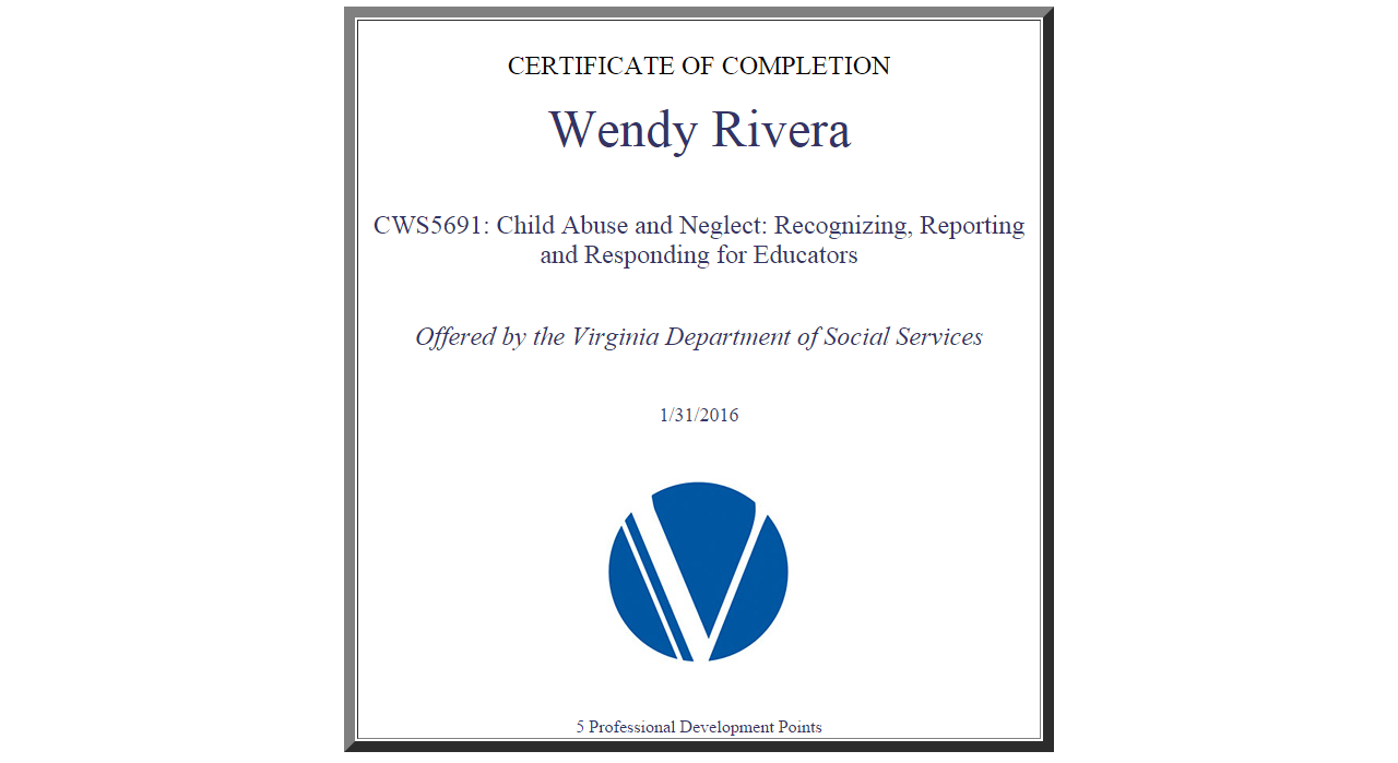 Child abuse and neglect training certification wendy lynn rivera certificate 1betcityfo Image collections