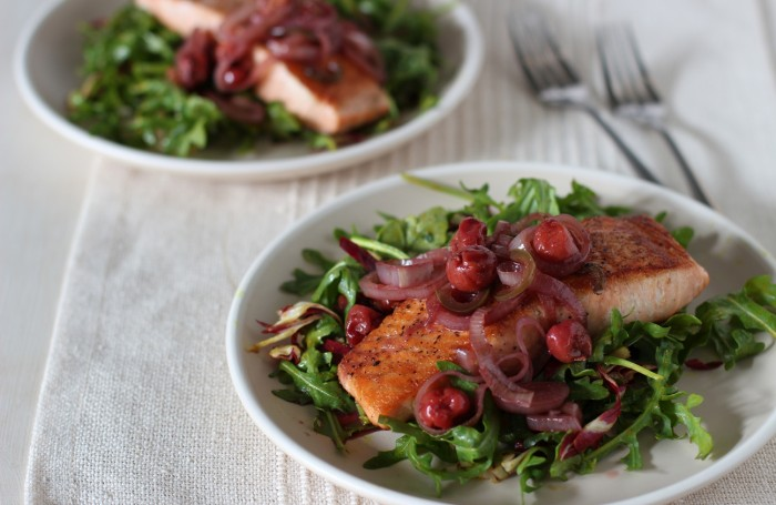 Warm-Salmon-Cherry-and-Arugula-Salad-700x455